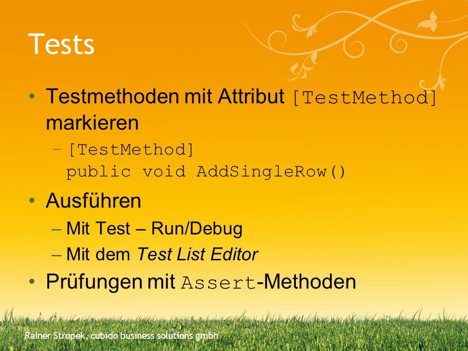 Tests Testmethoden mit Attribut [TestMethod] markieren Ausführen